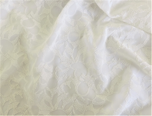 DH1708 Embroidered Georgette - White